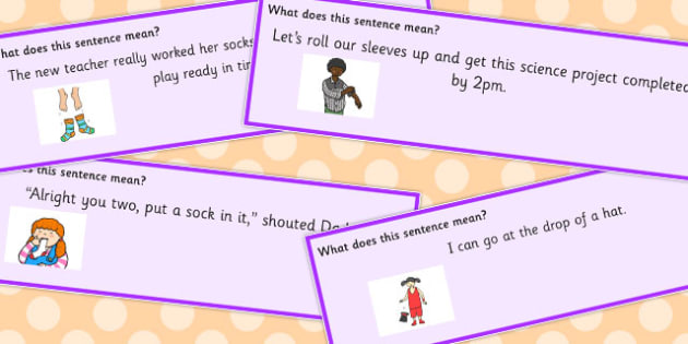 Clothes Idioms Sentence Cards - Clothes, Idioms, Meaning, Cards, Idiom