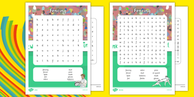 The Olympics Fencing Word Search - the olympics, rio olympics, 2016 olympics, rio 2016, fencing, word search