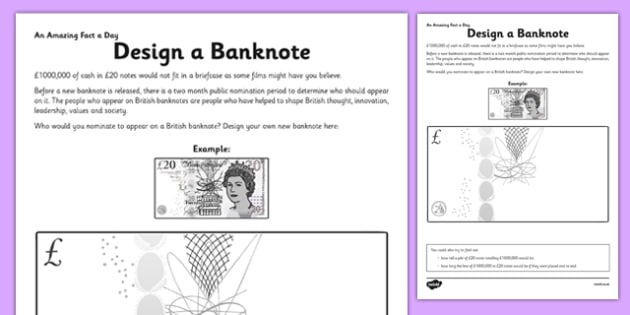 Design a Banknote Activity Sheet - money, art, design technology, DT, create, draw, worksheet