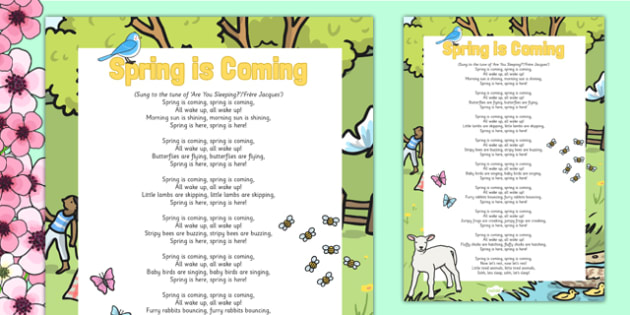 Spring Animals Rhyme Poster - EYFS, Early Years, seasons, wildlife, spring