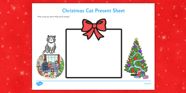 Christmas Cat Present Activity Sheet - mog, christmas cat, present, activity, sheet, worksheet