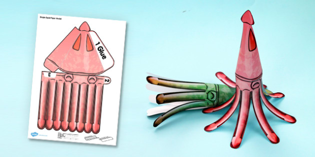 Under the Sea Simple 3D Squid - 3d, squid, under the sea, paper