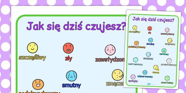 Jak się dzisiaj czujesz? Emocje i uczucia po polsku - przedszkole , Polish
