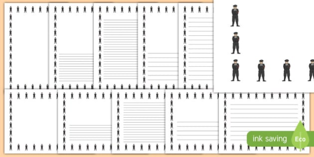 Gestapo Officer Landscape Page Borders- Landscape Page Borders - Page border, border, writing template, writing aid, writing frame, a4 border, template, templates, landscape