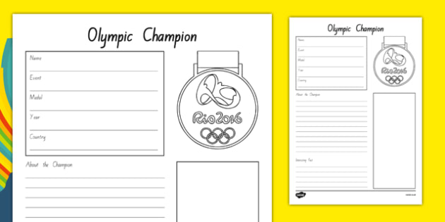 The Olympics Champion Fact File Activity Sheet - nz, new zealand, the olympics, rio olympics, rio 2016, 2016 olympics, fact file, champion, activity, worksheet