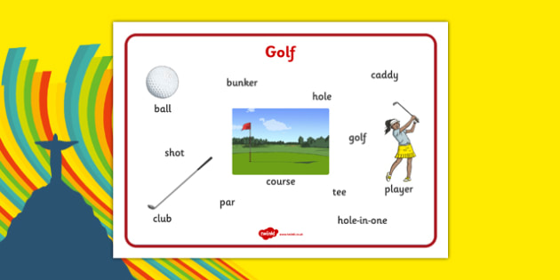 Rio 2016 Olympics Golf Word Mat - rio 2016, 2016 olympics, rio olympics, golf, word mat