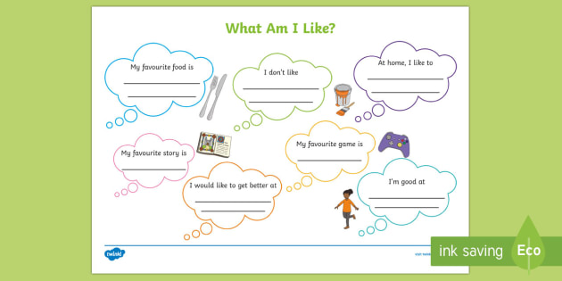 KS1 What Am I Like? Activity Sheet - back to school, new school year, all about me, first week back, worksheet
