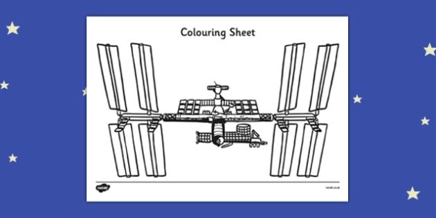 Tim Peake International Space Centre Colouring Sheet - tim peake, international, space centre, colouring, sheet