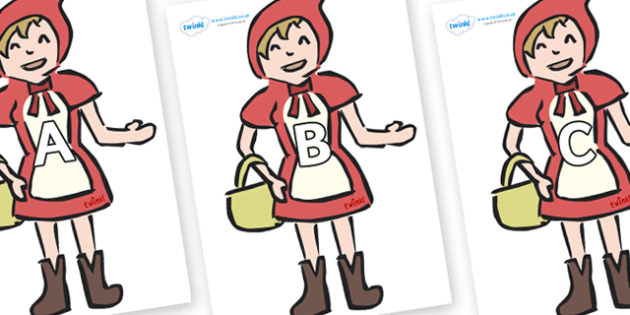 A-Z Alphabet on Little Red Riding Hood - A-Z, A4, display, Alphabet frieze, Display letters, Letter posters, A-Z letters, Alphabet flashcards