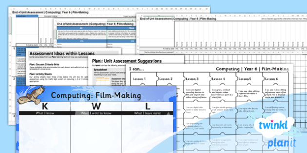 PlanIt - Computing Year 6 - Film-Making Assessment Pack - planit, computing, year 6, film making, assessment pack