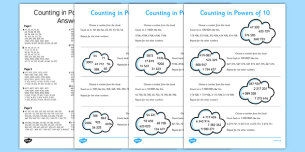 Counting Forwards and Backwards in Powers of 10 Activity Sheet Pack - maths, numeracy, ks2, key stage 2, ordering, place value, tens, hundreds, thousands, task, , worksheet