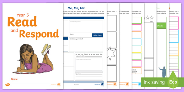 Year 5 Read and Respond Activity Pack - Y5, UKS2, response, activities, worksheets, home, consolidate