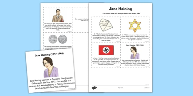Scottish Significant Individuals Jane Haining Sequencing Worksheet - Scottish significant individual, Christian, missionary, Holocaust, Jewish, Auschwitz