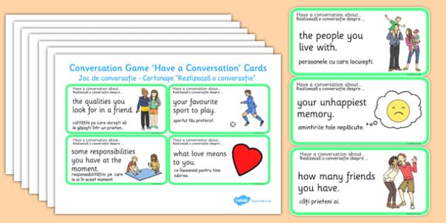 Conversation Game Have A Conversation Cards Green Romanian Translation - romanian, conversation game