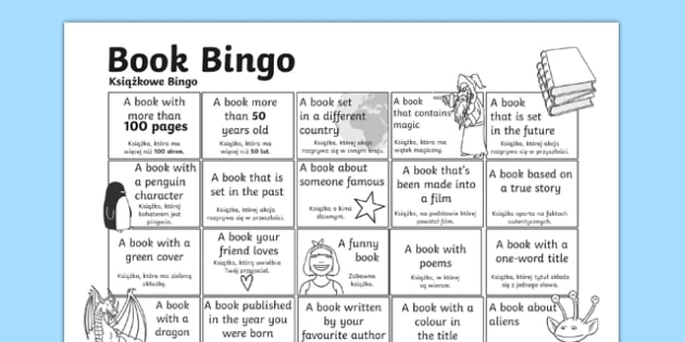 Book Bingo Activity Sheet Polish Translation - polish, reading, literacy, game, library, ks2, interaction, stories, worksheet