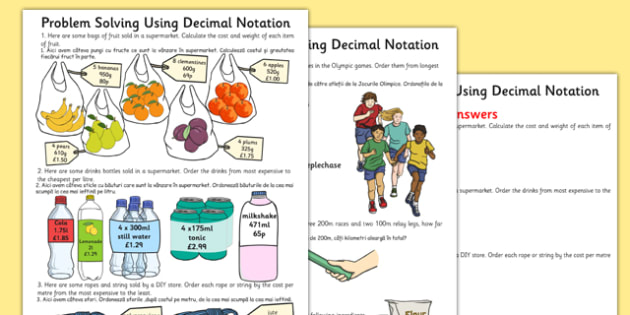 Problem Solving Using 4 Operations Decimals and Scaling Differentiated Activity Sheets Romanian Translation - romanian, , worksheet