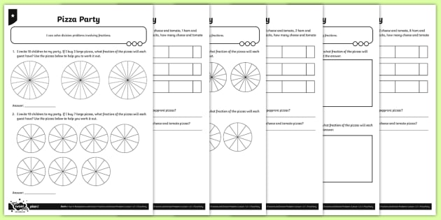 Fractions and Division Activity Sheets - Y4 Multiplication and Division Planit Maths, multiply, groups of, lots of, product, times, sets of,
