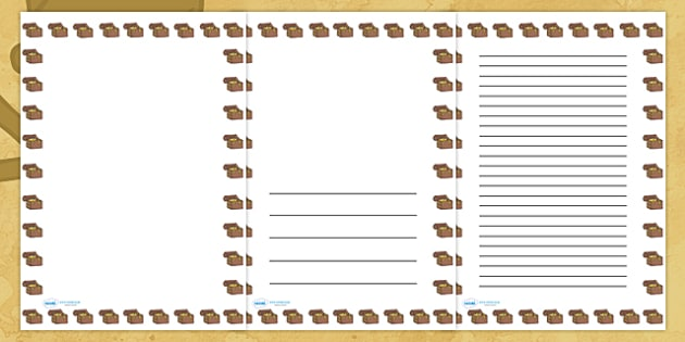 Pirate Treasure Chest Portrait Page Borders- Portrait Page Borders - Page border, border, writing template, writing aid, writing frame, a4 border, template, templates, landscape