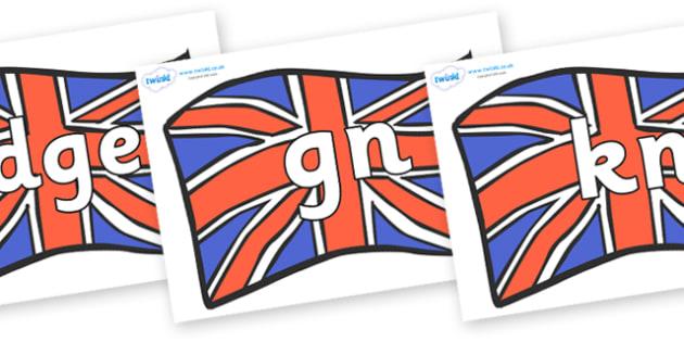 Silent Letters on British Flags - Silent Letters, silent letter, letter blend, consonant, consonants, digraph, trigraph, A-Z letters, literacy, alphabet, letters, alternative sounds