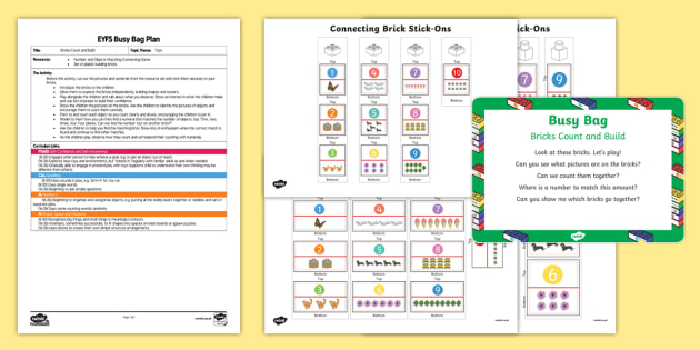 EYFS Brick Count and Build Busy Bag Plan and Resource Pack - Toys, bricks, counting, Lego, building, tower, count, number, match, early years, foundation stage,