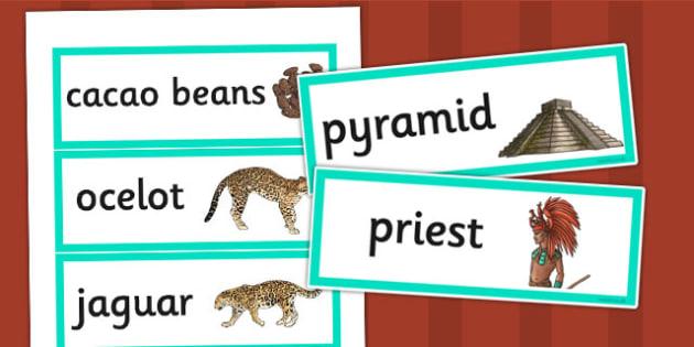 Maya Civilization Word Cards - mayan, word cards, visual aid