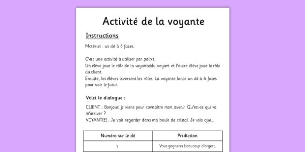 Activité de la voyante French - french, fortune telling, activity, using, future, simple