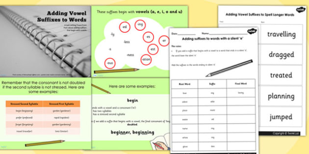 Year 3 4 Adding Vowel Suffixes to Words Teaching PowerPoint Pack