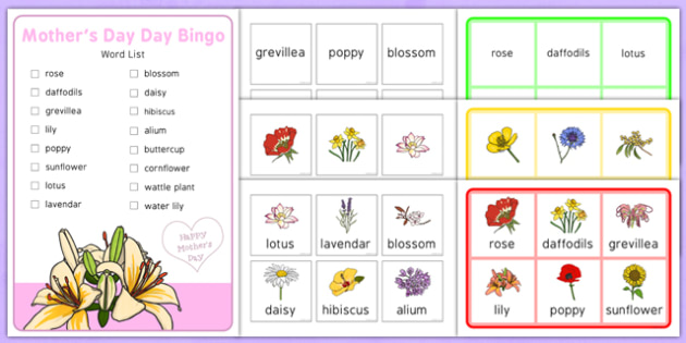 Elderly Care Mother's Day Bingo - Elderly, Reminiscence, Care Homes, Mother's Day, activity, memory