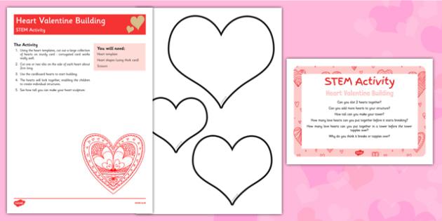 Heart Valentine Building STEM Activity - Science, technology, engineering, maths, love, hearts, valentines, lego