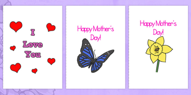 Mothers Day Card Templates A Full  MotherS Day Blank Card