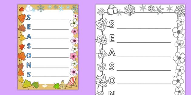 Seasons Acrostic Poem - seasons, acrostic poem, acrostic, poem, poetry, activity