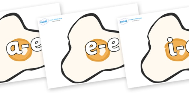 Modifying E Letters on Fried Eggs - Modifying E, letters, modify, Phase 5, Phase five, alternative spellings for phonemes, DfES letters and Sounds