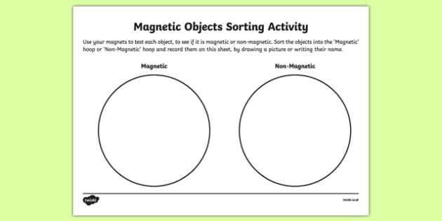 Magnetic Objects Sorting Activity Sheet Activity Sheet to Support Teaching on Aliens Love Underpants, worksheet