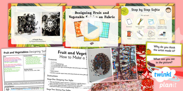 Art: Fruit and Vegetables: Designing Fruit and Vegetables on Fabric LKS2 Lesson Pack 5
