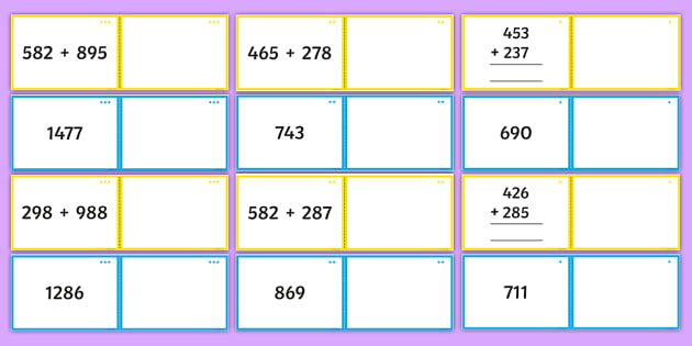 Adding Three-Digit Numbers Match Cards Resource Pack - Addition and Subtraction, add, more, plus, and, make, altogether, total, equal to, equals, double, m