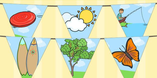 Spring Bunting - seasons, weather, flags, bunting, display