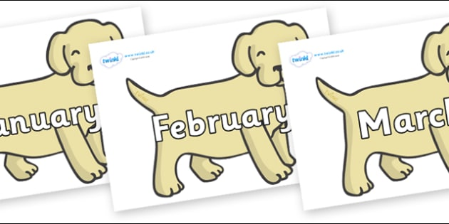 Months of the Year on Puppies - Months of the Year, Months poster, Months display, display, poster, frieze, Months, month, January, February, March, April, May, June, July, August, September