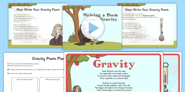 Writing a Poem About Gravity Lesson Pack - CfE, writing, poetry, poem, gravity, Isaac Newton, scotland, scottish, science, curriculum, excellence