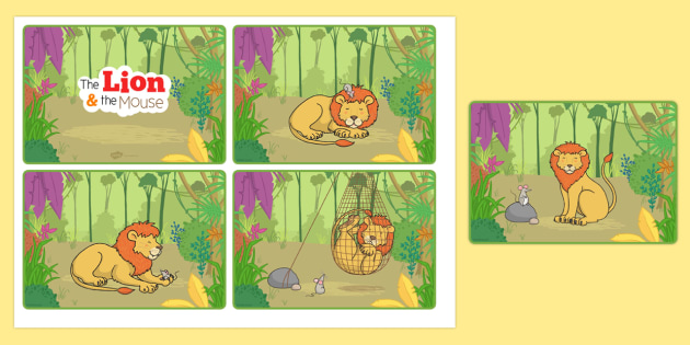 The Lion And The Mouse Story Sequencing Cards - story cards