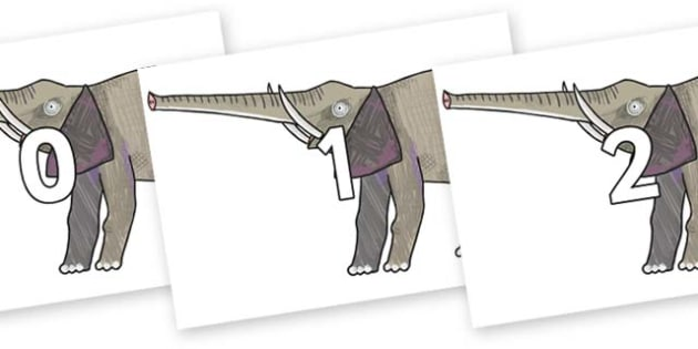 Numbers 0-50 on Elephant to Support Teaching on The Bad Tempered Ladybird - 0-50, foundation stage numeracy, Number recognition, Number flashcards, counting, number frieze, Display numbers, number posters