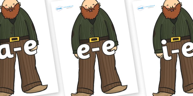 Modifying E Letters on Giants - Modifying E, letters, modify, Phase 5, Phase five, alternative spellings for phonemes, DfES letters and Sounds