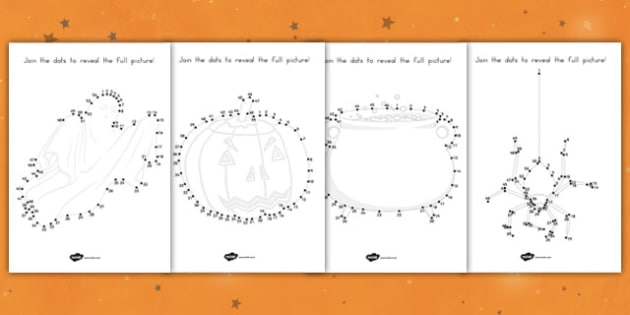 Halloween Dot to Dot Activity Sheets - fine motor skills, pd, counting, maths, drawing, worksheet