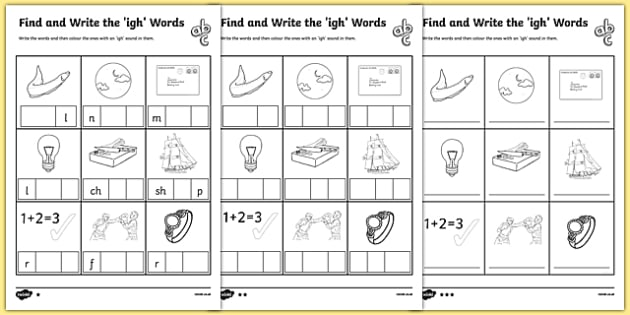 Find and Write the igh Words Differentiated Activity Sheet Pack – Igh Worksheets