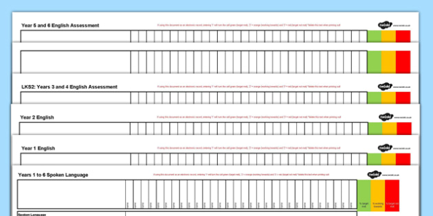Year 1-6 Reading, Writing, Speaking and Listening Assessment Spreadsheet - spreadsheet, assessment, reading, writing, speaking, listening