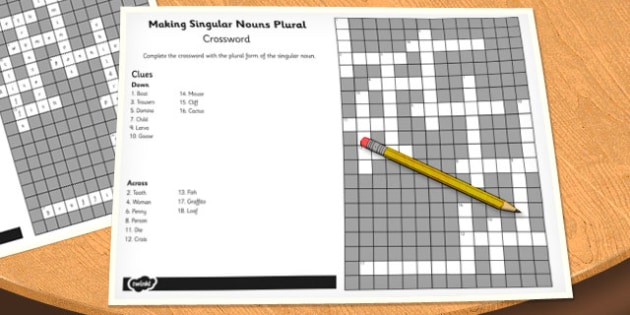 Making Singular Nouns Plural Crossword - crossword, singular, nouns
