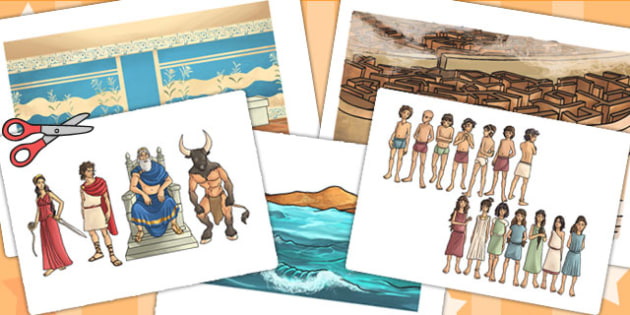 Theseus and the Minotaur Story Cut Outs - story, cut out, books
