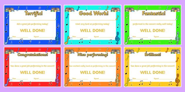 Singing In A Concert Certificates - music, sing, awards, rewards