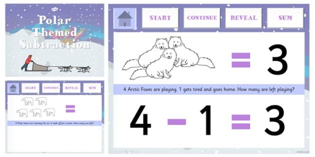 Polar Regions Themed Subtraction PowerPoint - polar, subtraction
