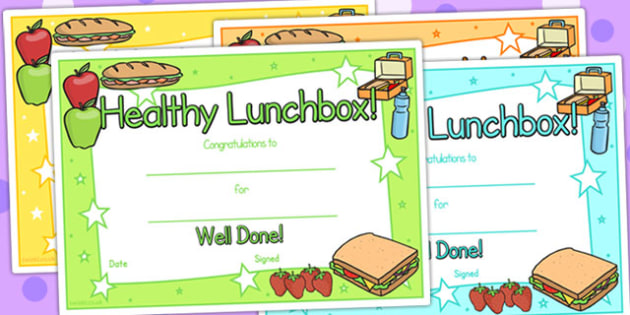 gcse certificate template - healthy lunchbox certificates healthy eating healthy eating