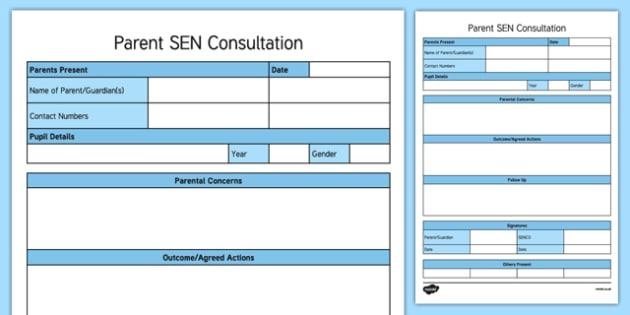 Parent SEN Consultation Writing Template